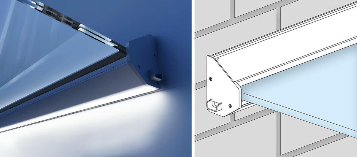 Sklenená strieška nad vchodové dvere z bezpečnostného skla - odvodňovacie kanáliky na dažďovú vodu a LED podsvietenie