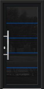 Hliníkové dvere so sklo-hliníkovou výplňou Evolution EV-950 v modrej alternatíve