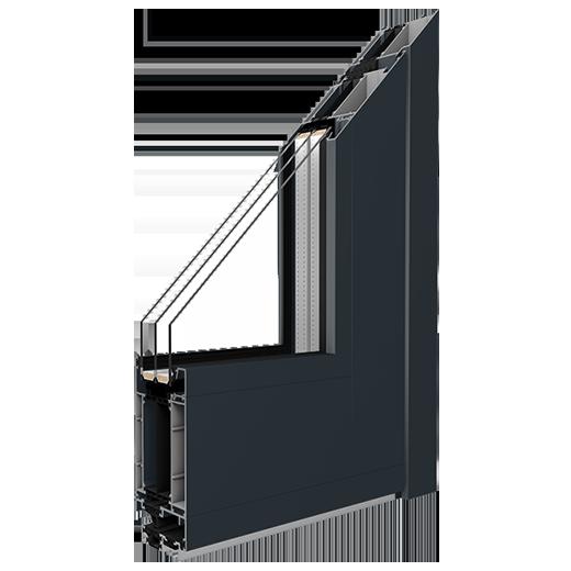 hliníkový rám MB-86SI pre kompletné vchodové hliníkové dvere