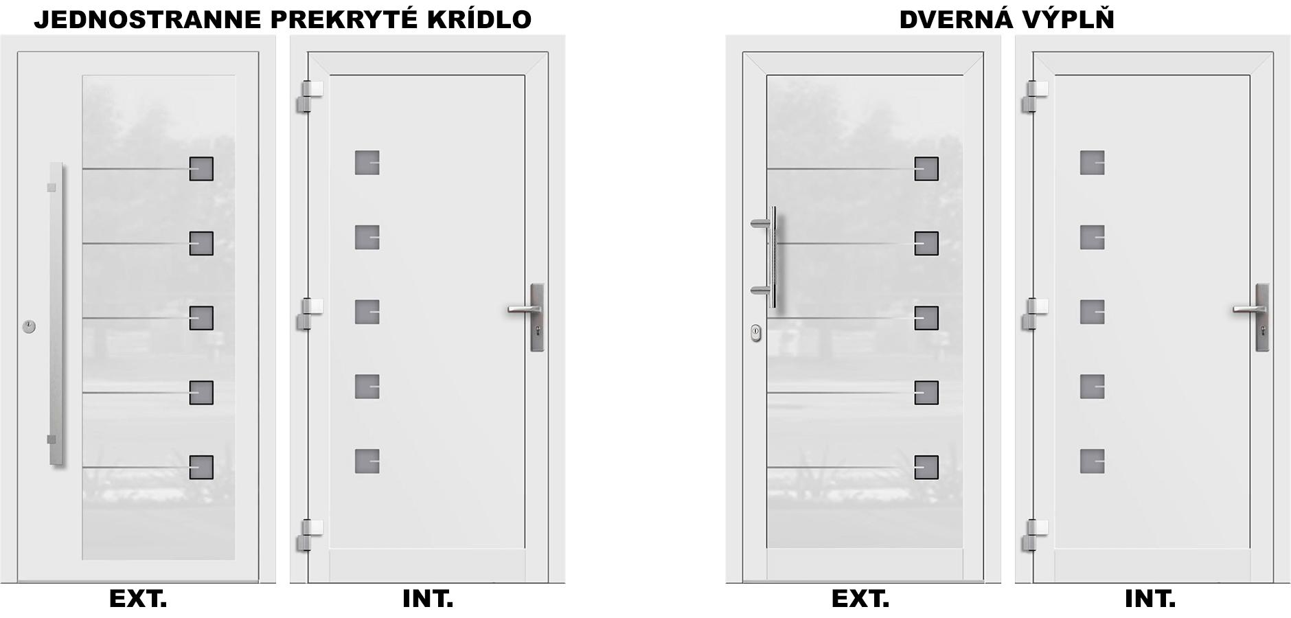 Vchodové hliníkové dvere s dvernou výplňou alebo prekrytým krídlom na porovnanie.