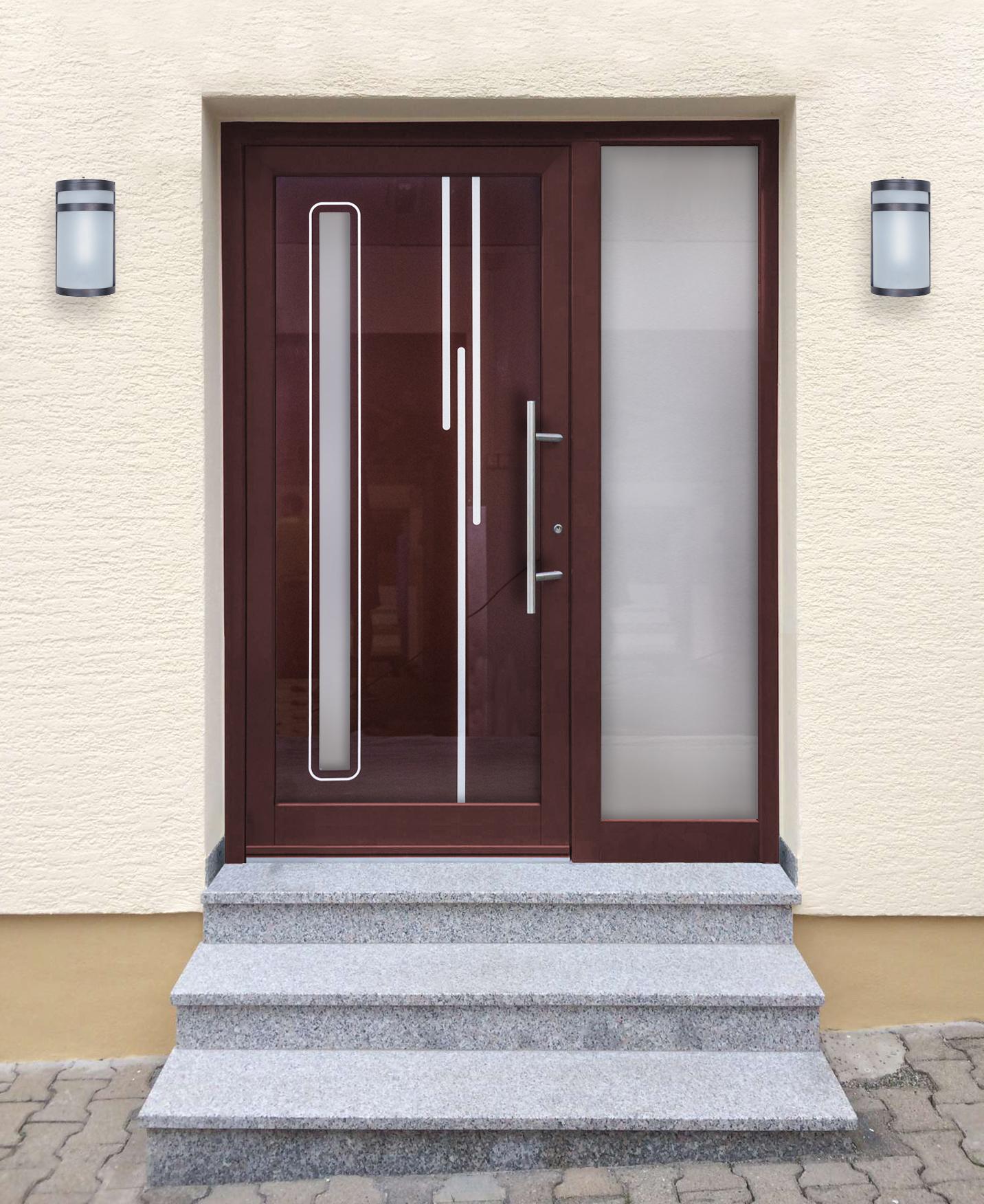 Hliníkové vchodové dvere do domu so sklo-hliníkovou výplňou Evolution