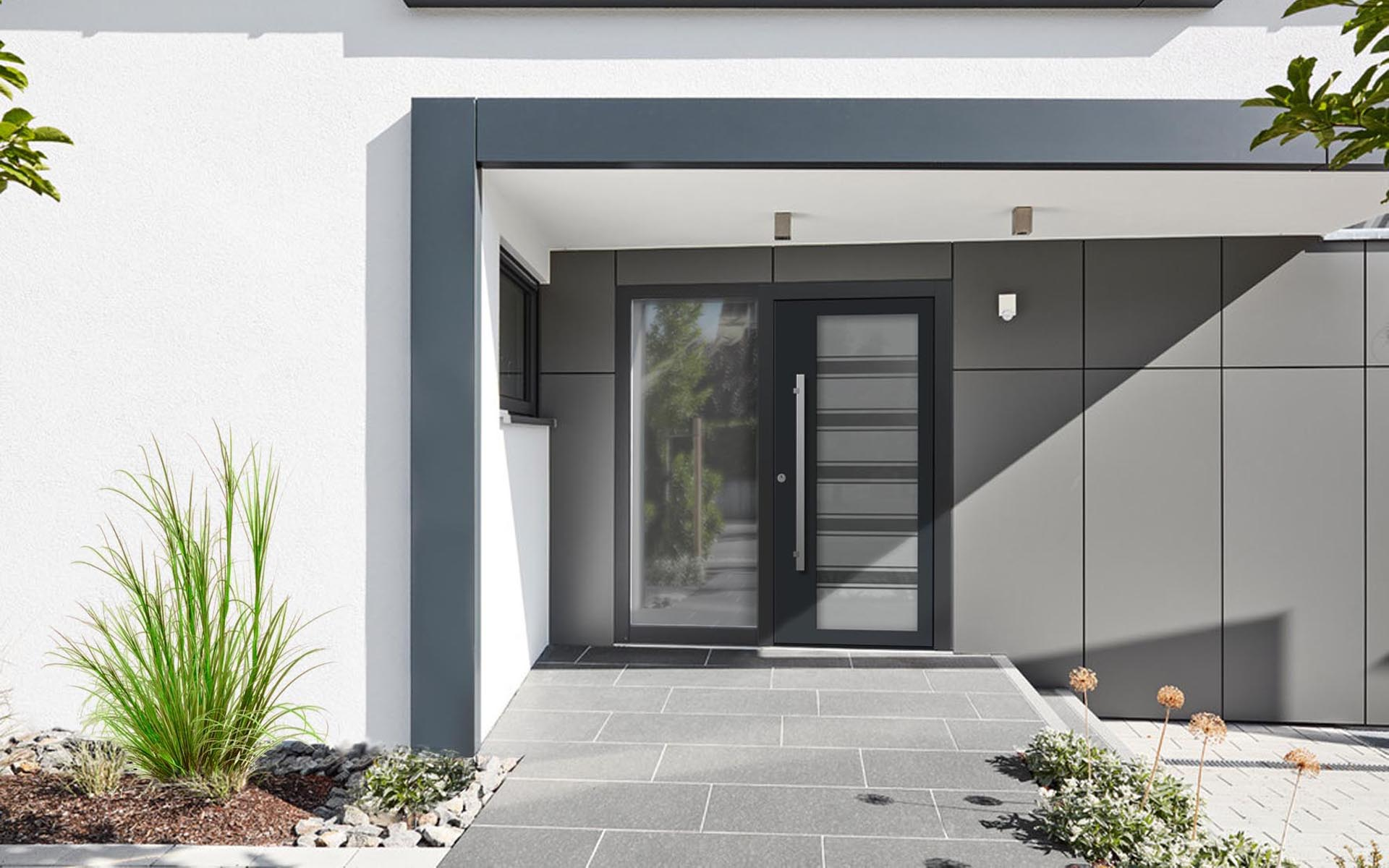 Hliníkové dvere so sklo-hliníkovým prekrytým krídlom Vision Glass