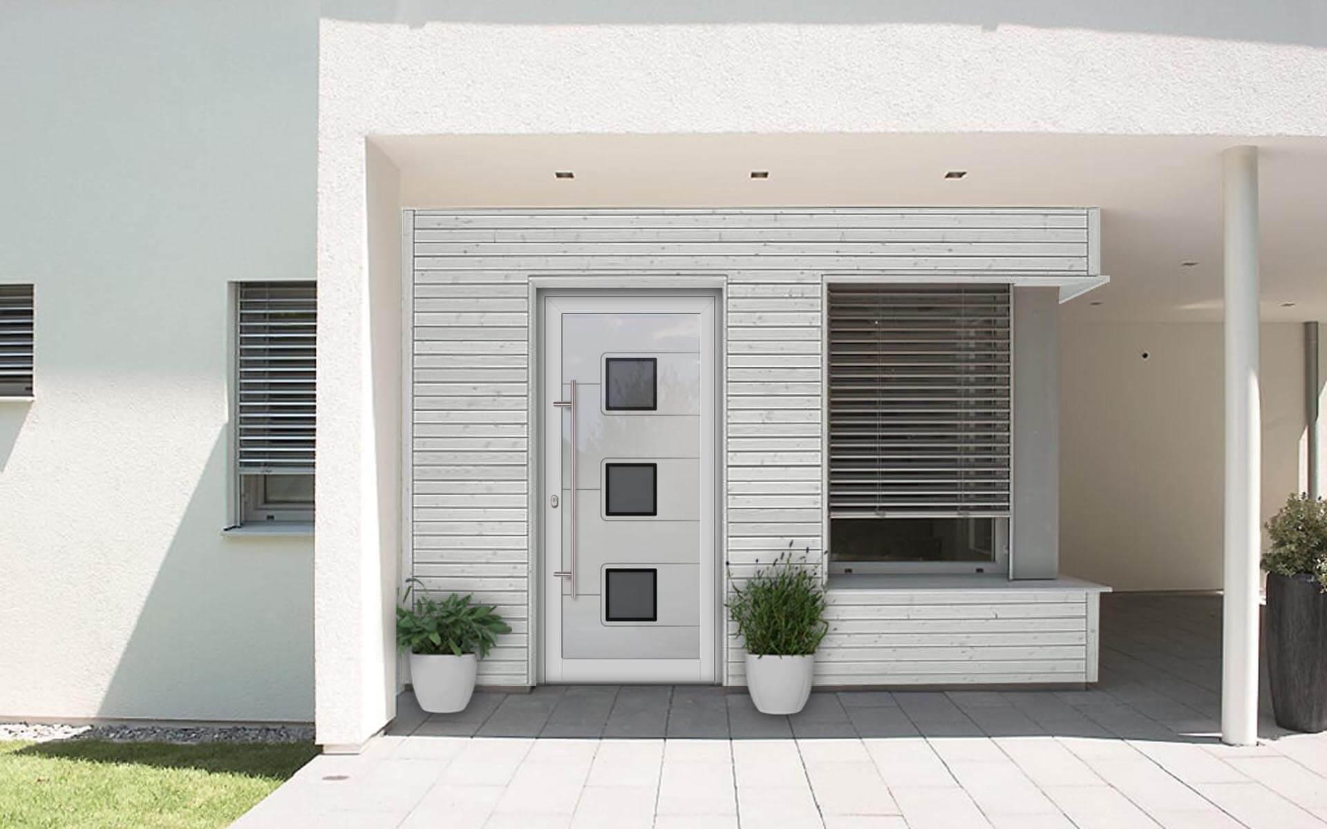 Hliníkové vchodové dvere s odolnou výplňou s dilatačným jadrom v bielej farbe