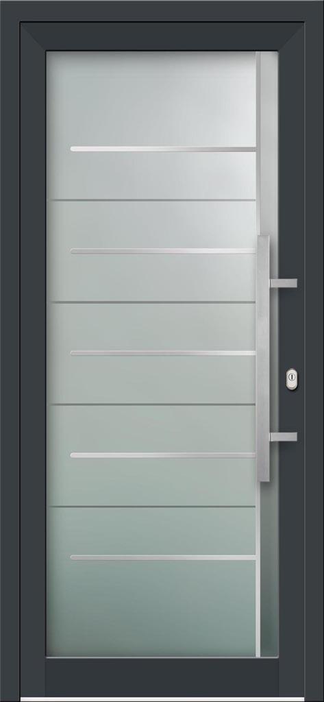Hliníkové vchodové dvere s celosklenenou výplňou VV-850-GLi06 s integrovaným antikorom