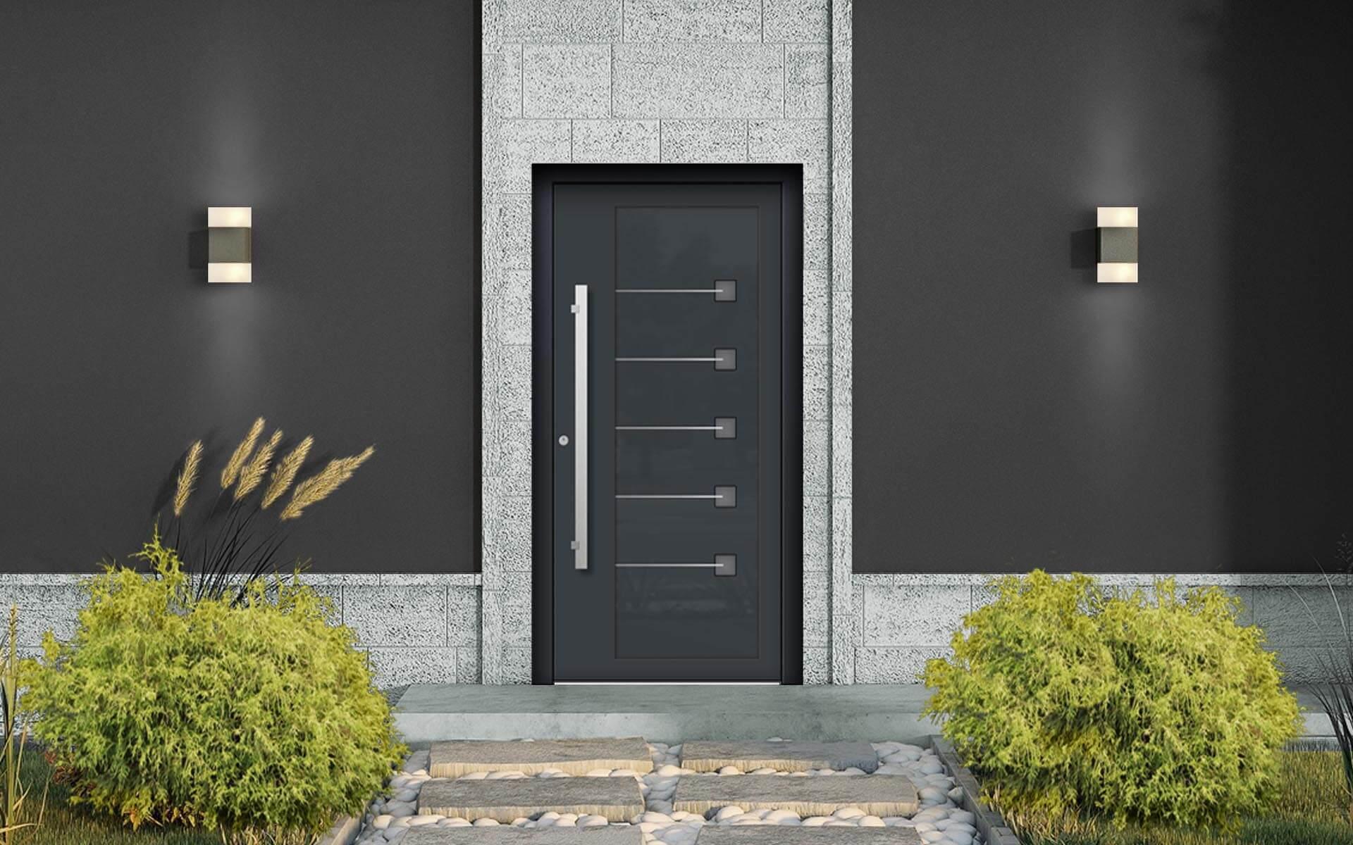 Vchodové hliníkové dvere do domu s odolnou výplňou s dilatačným jadrom v antracitovej farbe