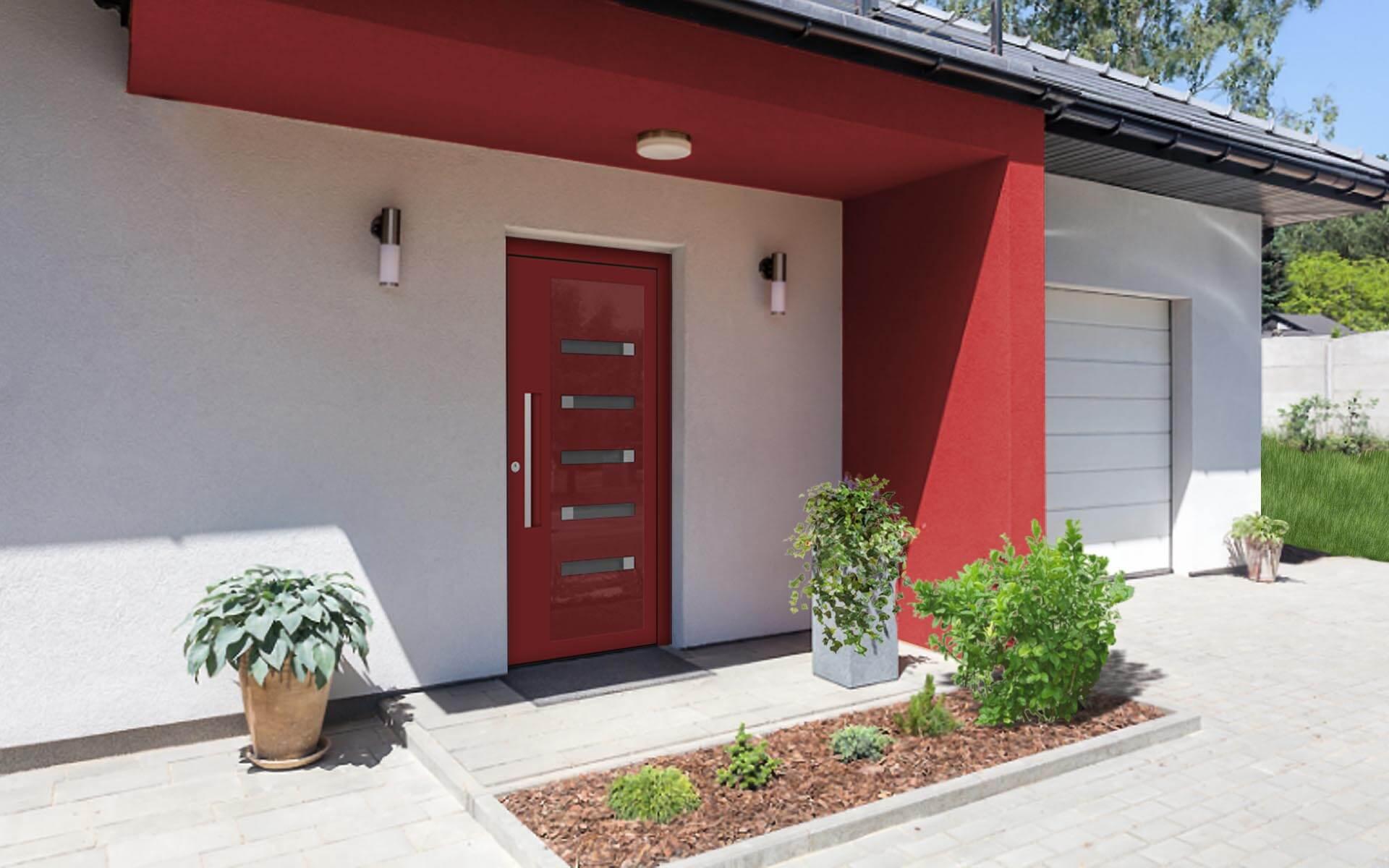 Hliníkové vchodové dvere s odolnou výplňou s dilatačným jadrom v červenej farbe na rodinnom dome
