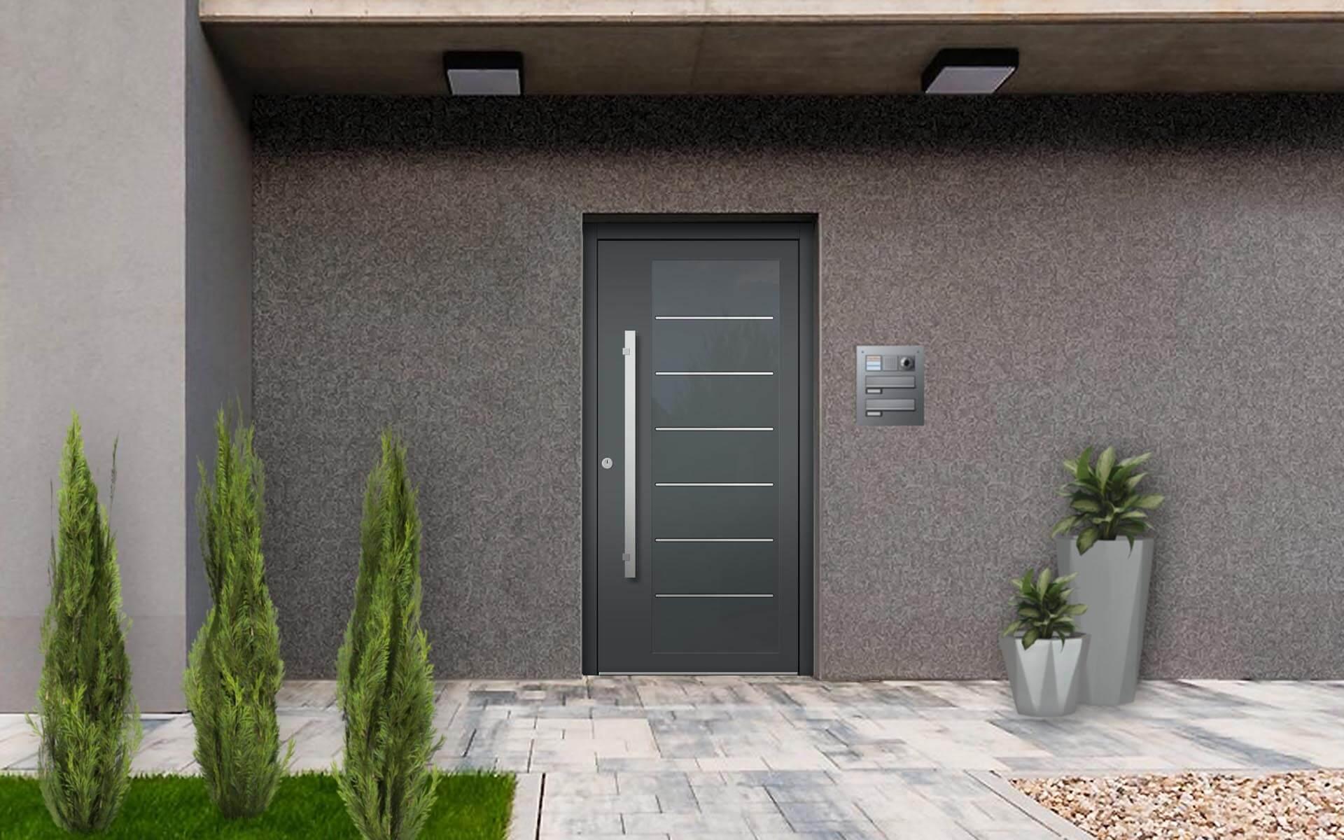Vchodové hliníkové dvere do domu s odolnou výplňou s dilatačným jadrom s prekrtým krídlom