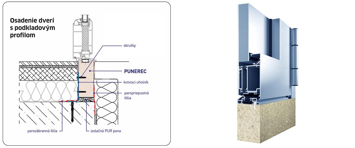 Podkladový profil pre vchodové dvere do nízkoenergetického rodinného domu