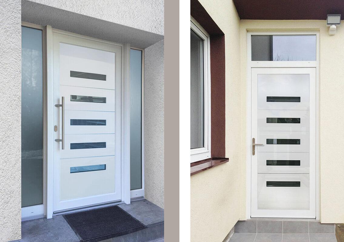 Vchodové hliníkové dvere do domu s odolnou výplňou s dilatačným jadrom EV-963 v bielej farbe