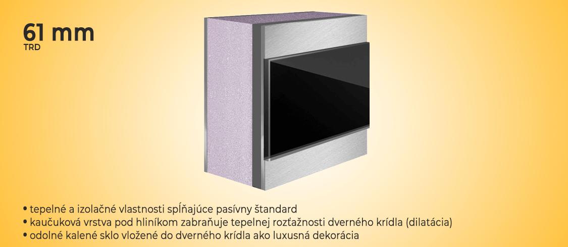 Dilatačná štruktúra pre dvernú výplň prestížnych hliníkových vchodových dverí
