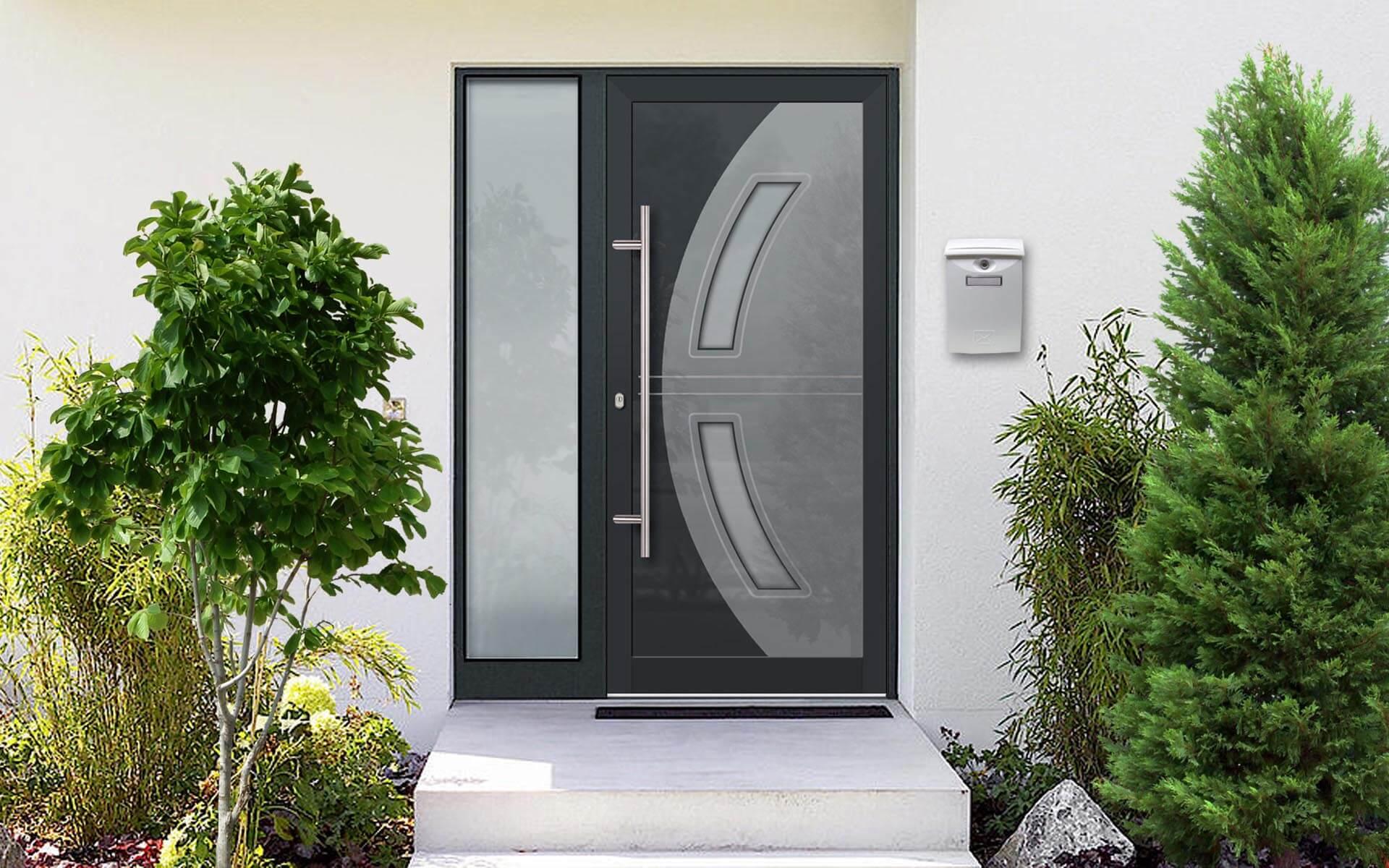 Vchodové hliníkové dvere do domu s odolnou výplňou s dilatačným jadrom vo farebnej kombinácii RAL 7016 a 7040