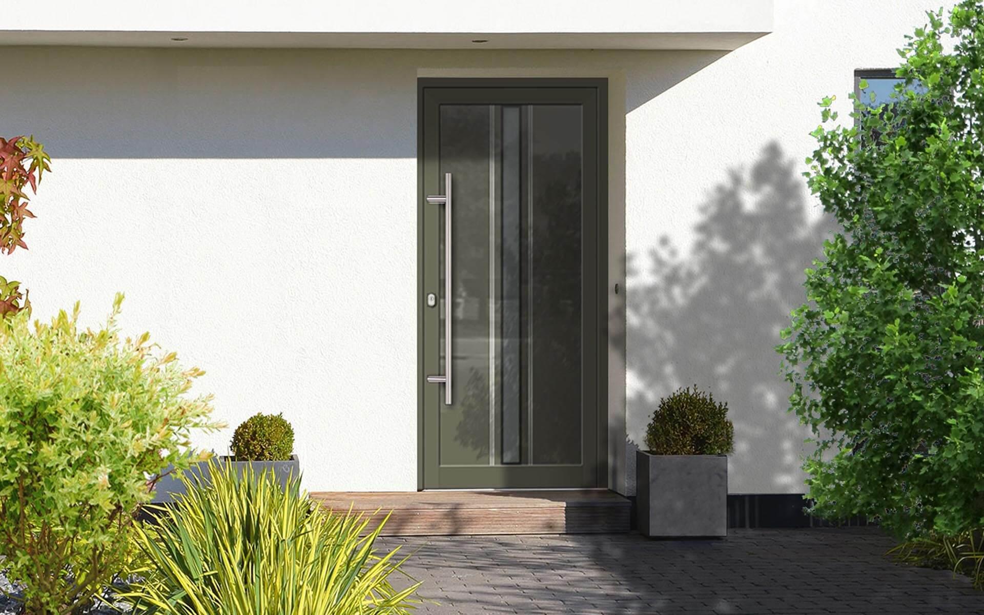 Vchodové dvere do domu zo skla a hliníka v zelenej farbe RAL 7013