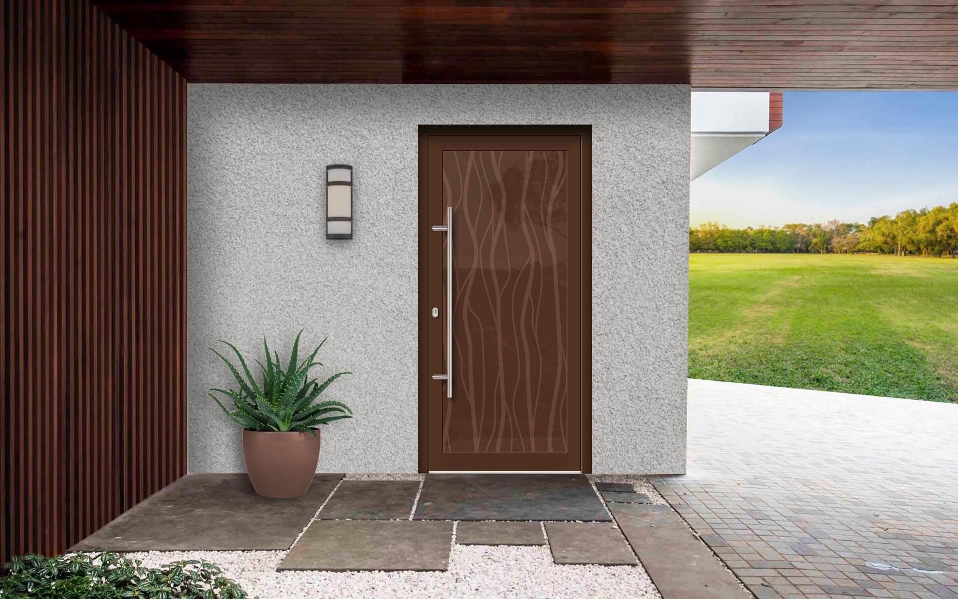 Vchodové dvere do domu vo farbách podobných drevu RAL 8011 a 8002