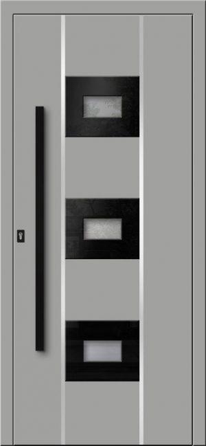 Prestížne vchodové hliníkové dvere s montážou do rodinného domu s hliníkovým prekrytým krídlom
