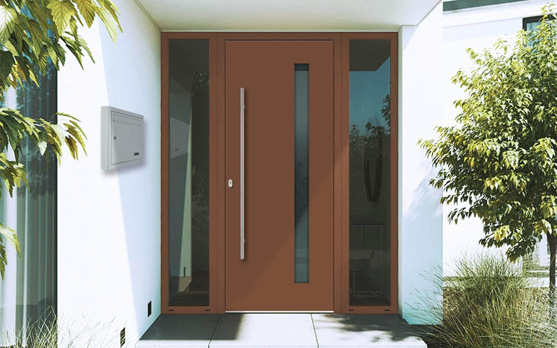 Hliníkové vchodové dvere do domu so svetlíkom v hnedej farbe RAL 8024