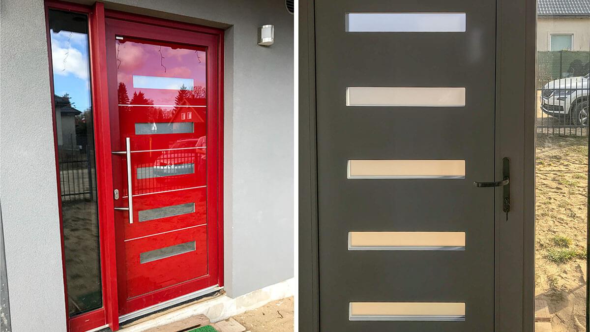 Hliníkové vchodové dvere EV-963 vo farbe RAL 3011 červenohnedá