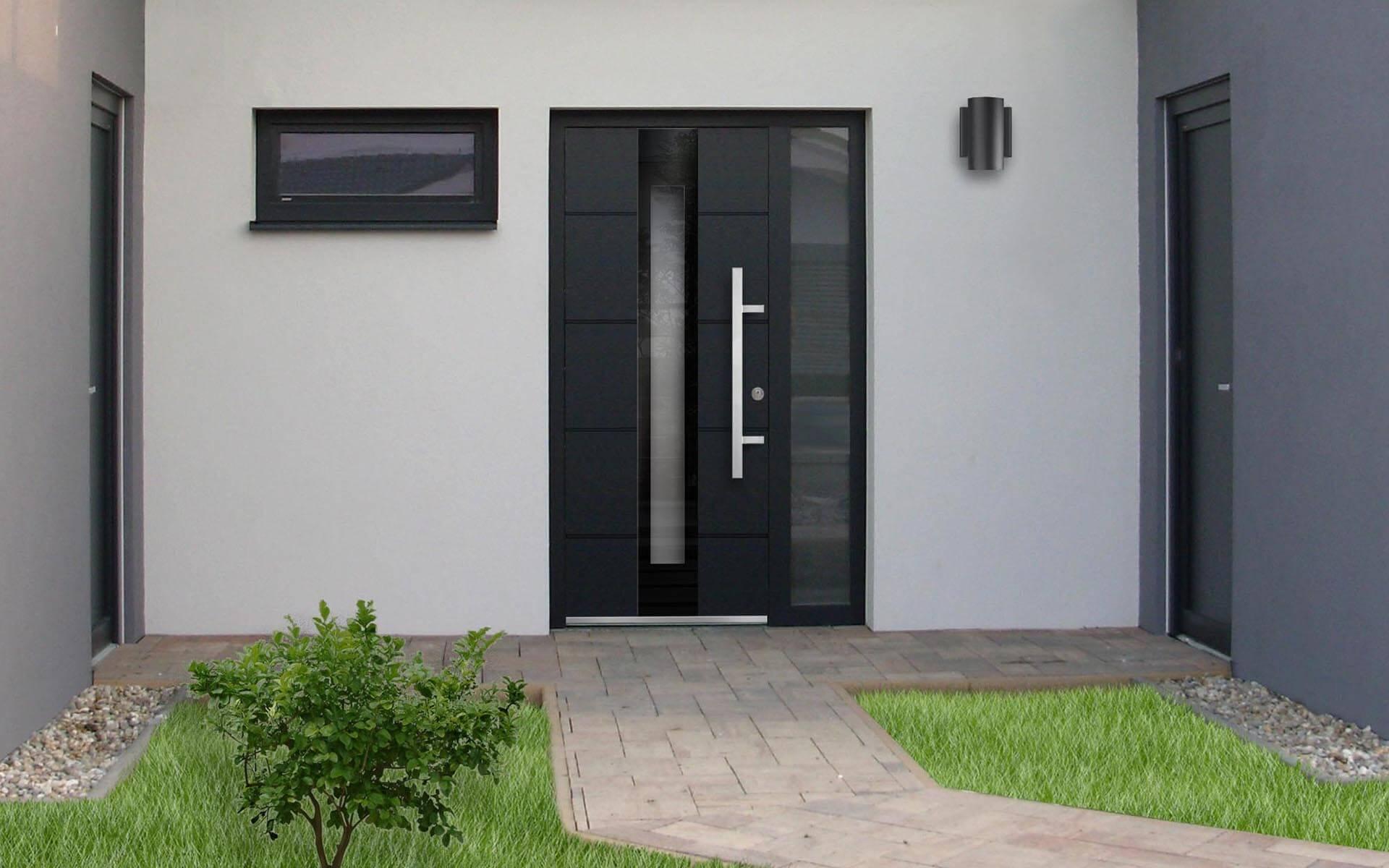 Hliníkové dvere s hliníkovou výplňou Prestige vo farbe antracit