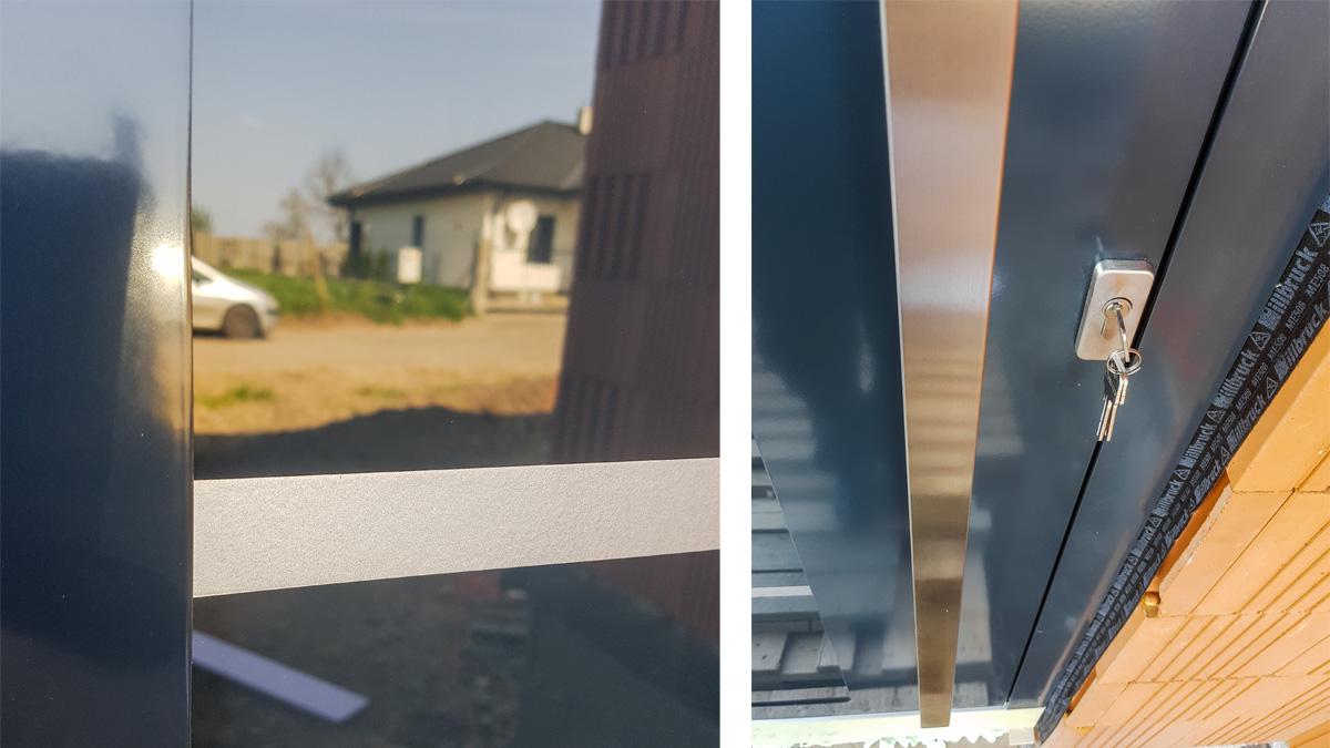 Hliníkové vchodové dvere EV-950 vo farbe antracit s prekrytým krídlom