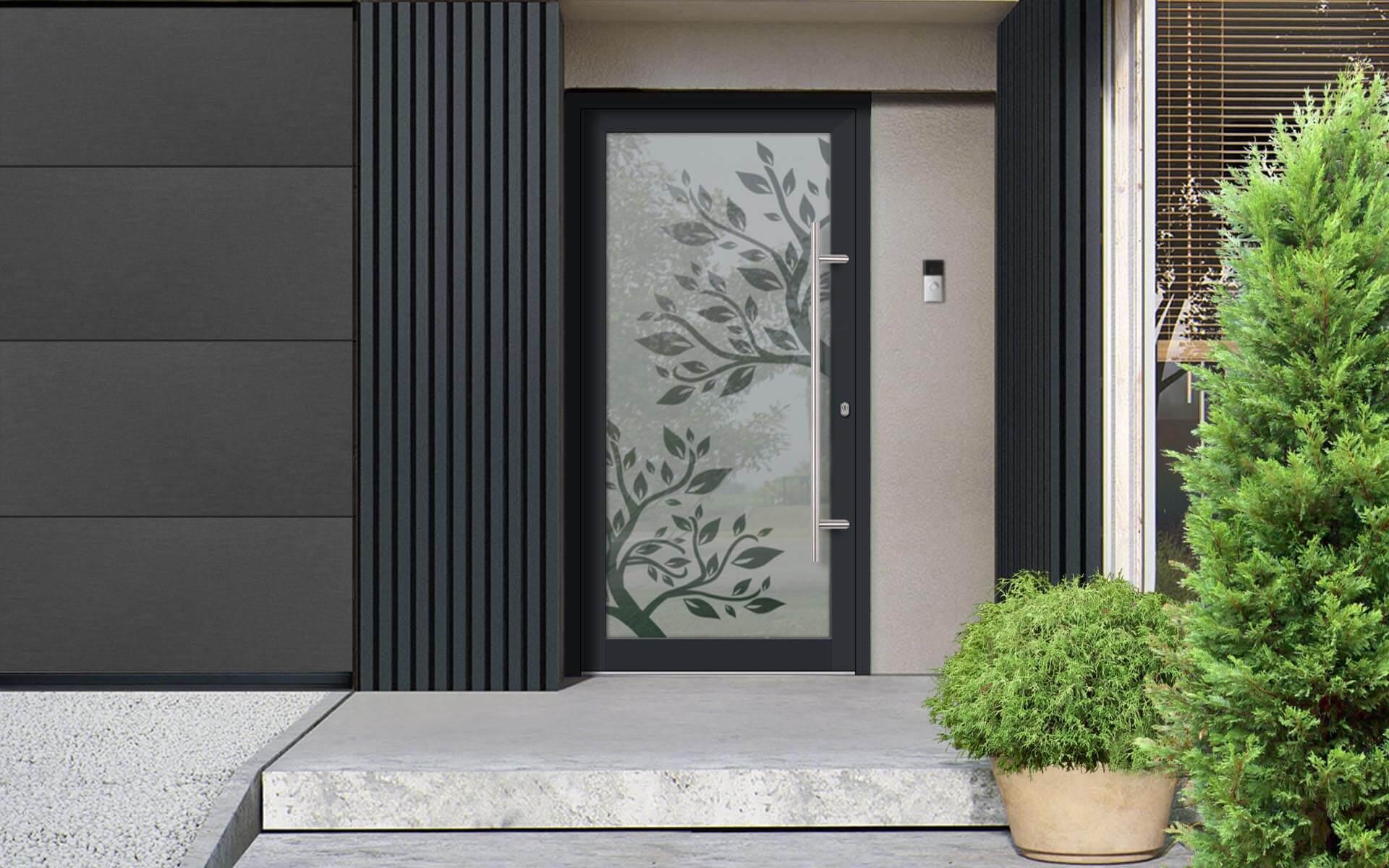 Hliníkové dvere s celosklenenou ekologickou výplňou Vision Glass vo farbe antracit
