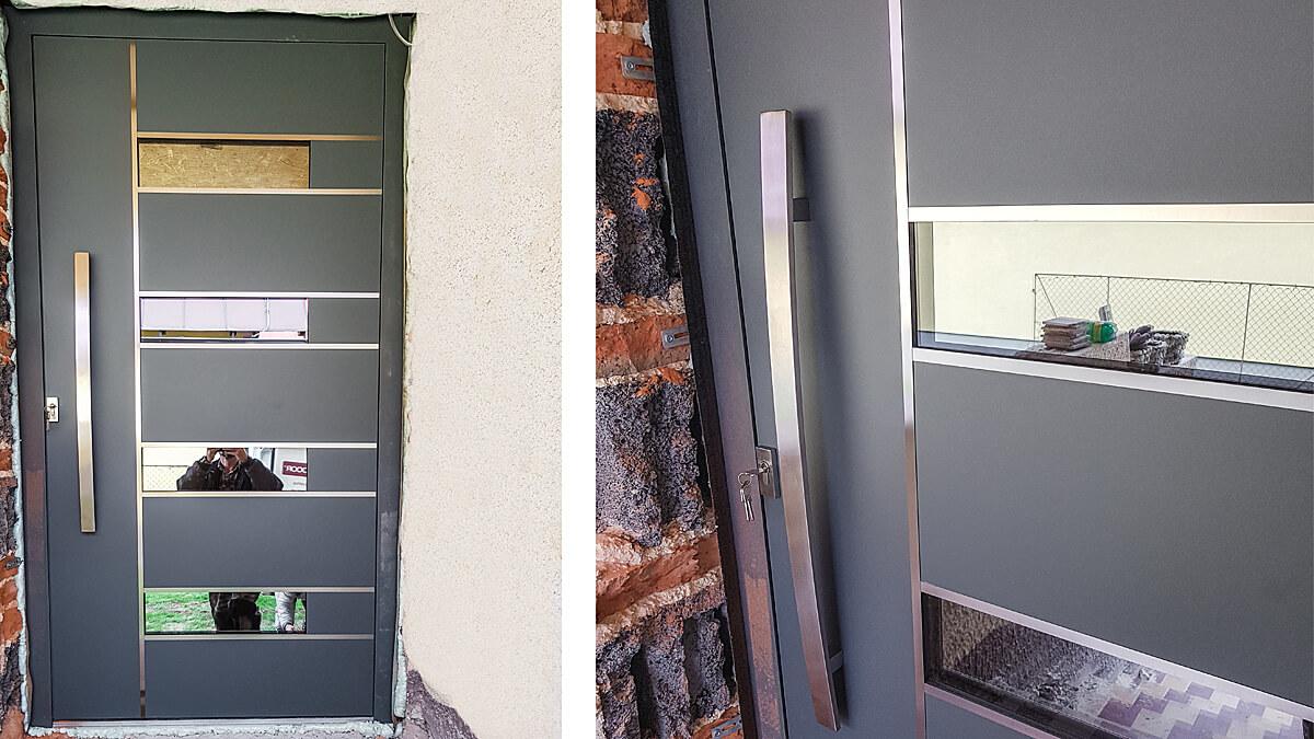 Atypické hliníkové vchodové dvere vo farbe štruktúrovaná čadičová sivá