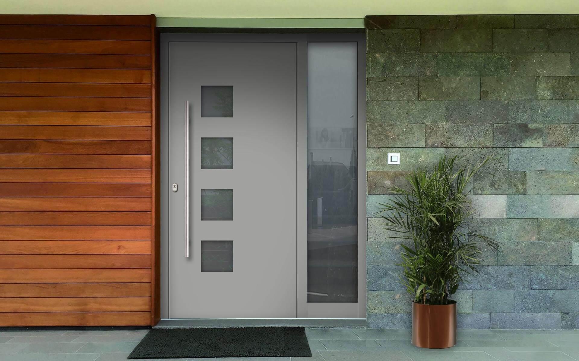 Hliníkové vchodové dvere do domu so svetlíkom vo farbe hliníková biela RAL 9006