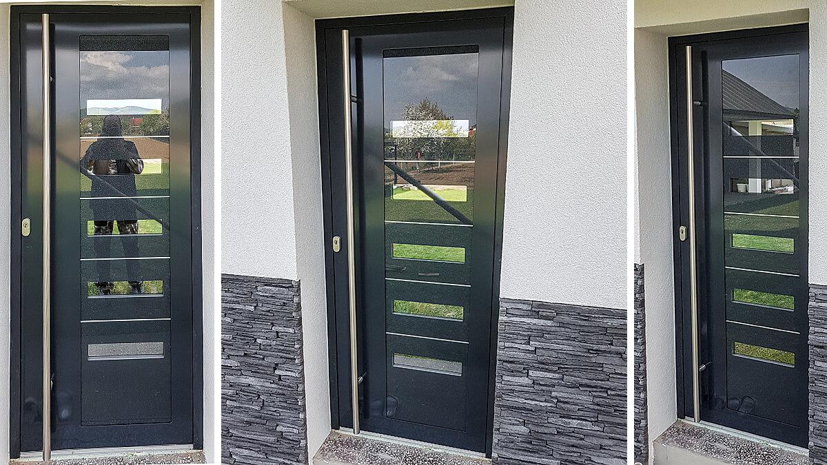 Hliníkové vchodové dvere EV-963 vo farbe antracit s glittrom a prekrytým krídlom