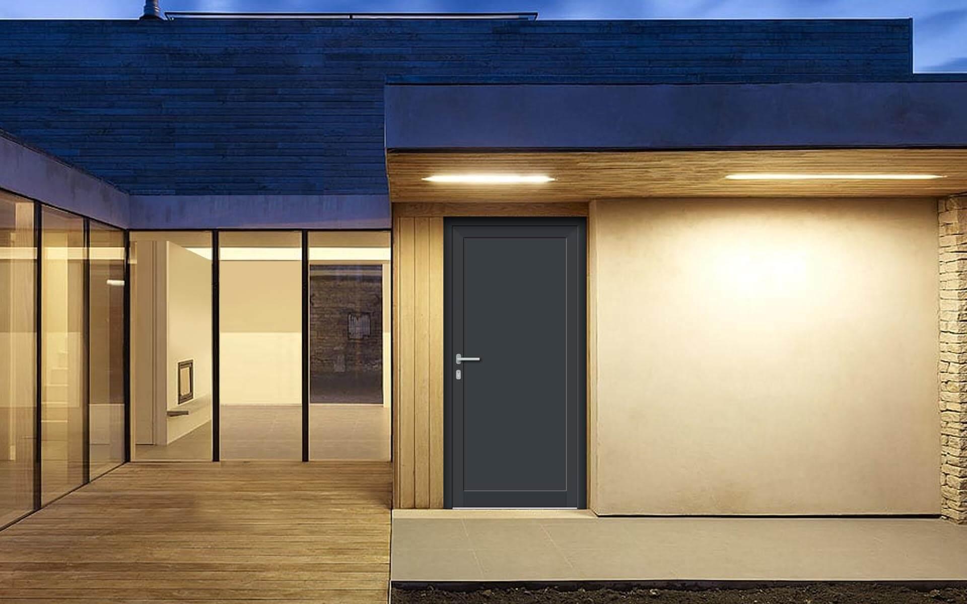 Vedľajšie vchodové dvere do domu vo farbe antracit 7016