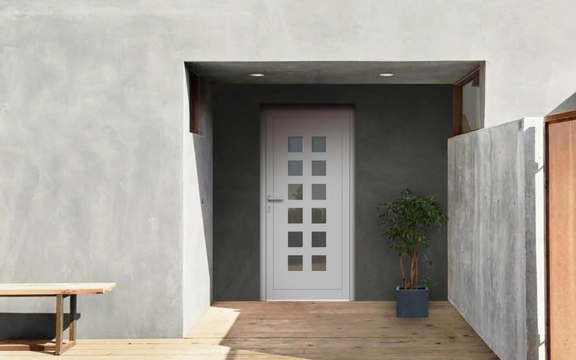 Vedľajšie vchodové dvere do domu vo farbe biela 9016