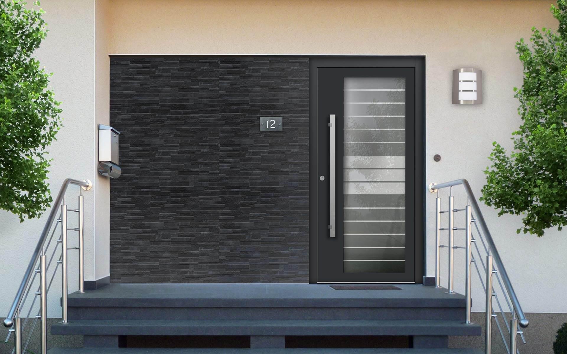 Hliníkové vchodové dvere s výplňou z bezpečnostného trojskla VV-850-GLP12