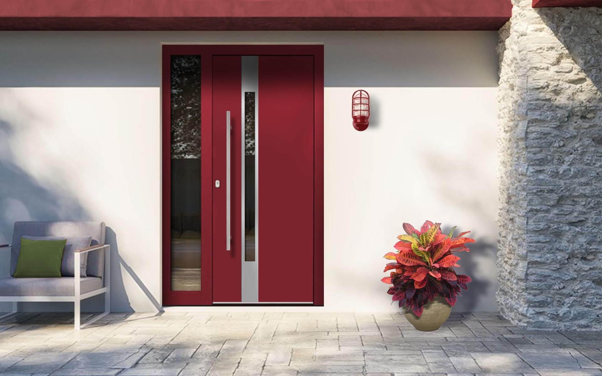 Hliníkové vchodové dvere do domu so svetlíkom vo farbe purpurová červená RAL 3004