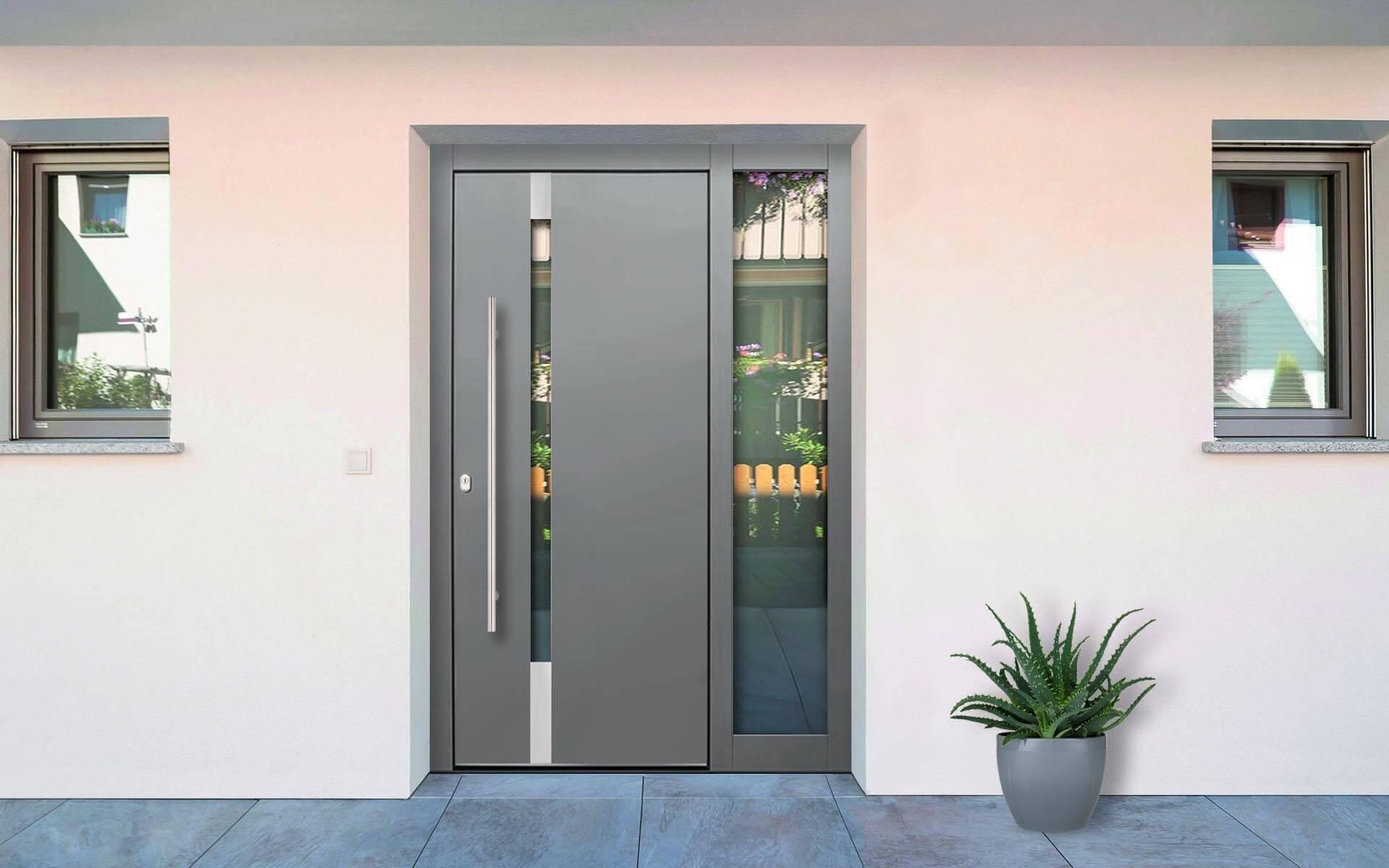 Hliníkové vchodové dvere do domu so svetlíkom vo farbe perleťová tmavosivá RAL 9023