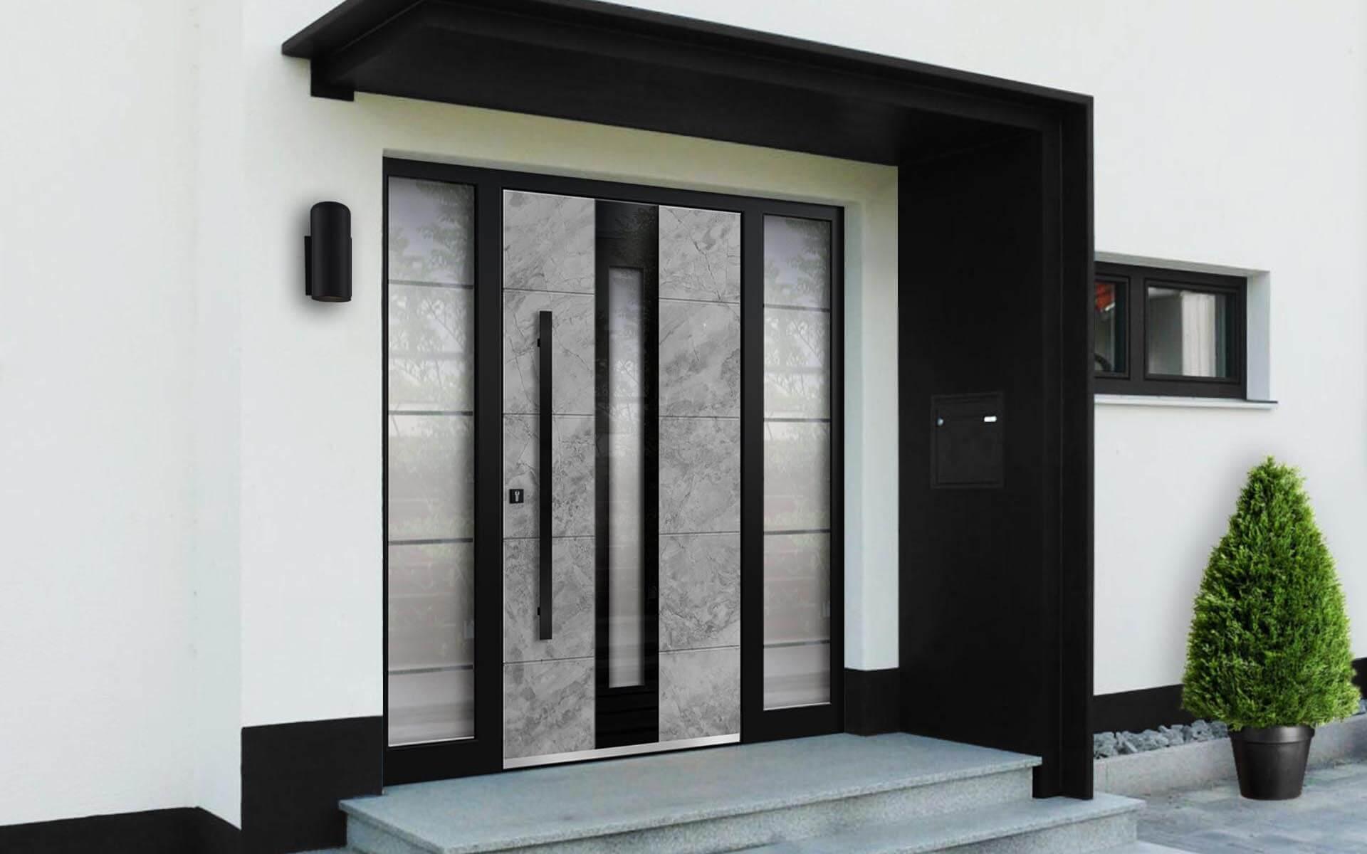 Hliníkové vchodové dvere so svetlíkom AVF-G-7703 v prevedení kameň a farbe RAL 9005
