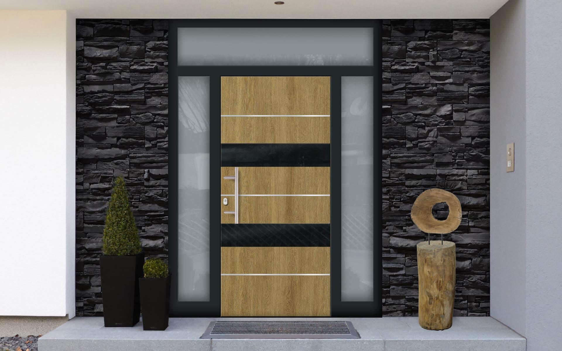 Hliníkové vchodové dvere so svetlíkom AVI-G-7710 v prevedení drevo a farbe RAL 7016
