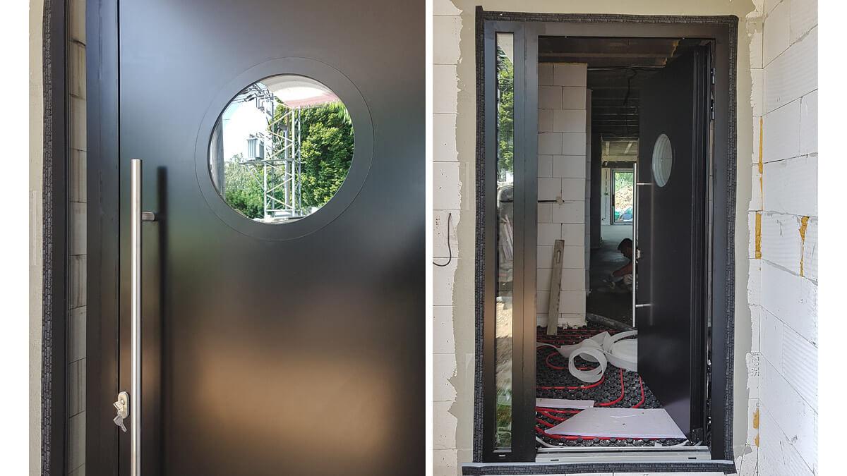 Hliníkové vchodové dvere atypické s obojstranným prekrytým krídlom a bočným svetlíkom