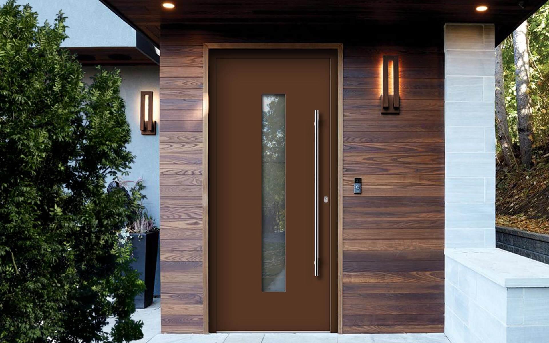 Hliníkové vchodové dvere do domu vo farbe oriešková hnedá RAL 8011