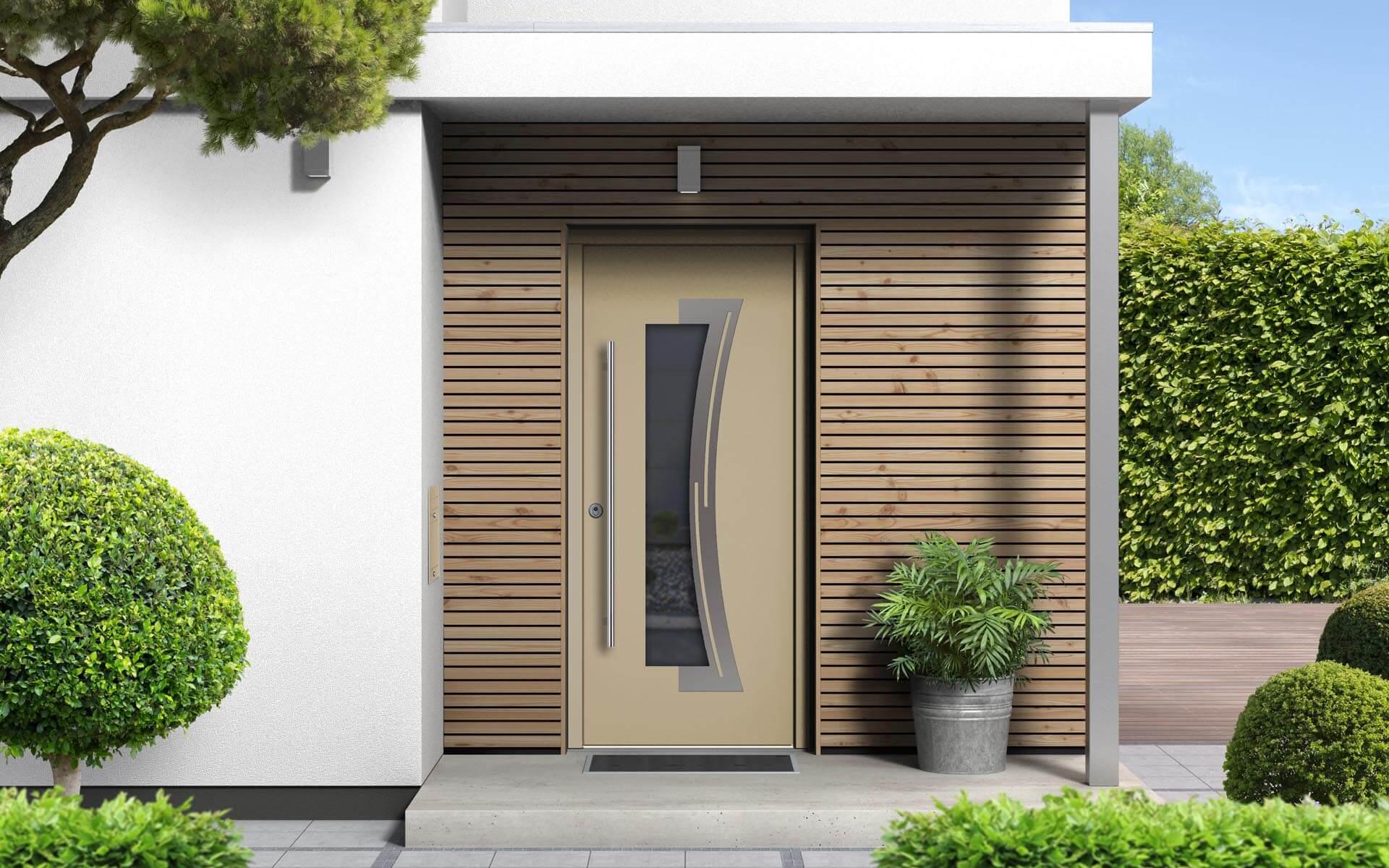 Hliníkové vchodové dvere do domu vo farbe slonová kosť RAL 1014