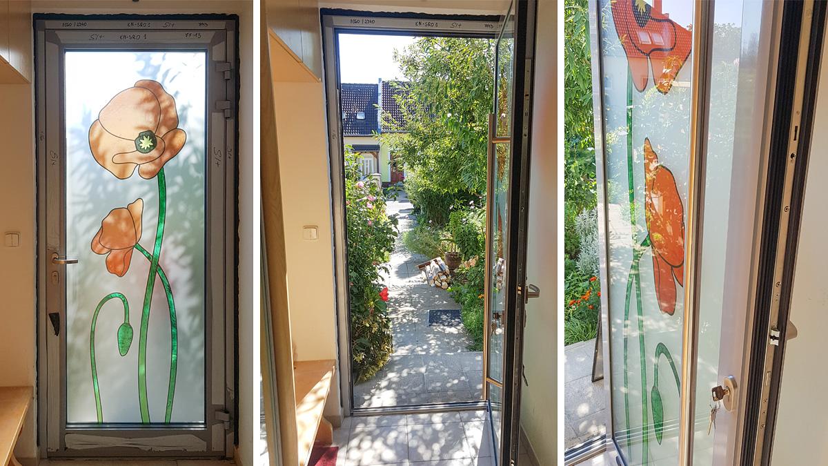 Hliníkové vchodové dvere VV-850-GLW34 s prírodným motívom vo farbe okenná sivá RAL 7040