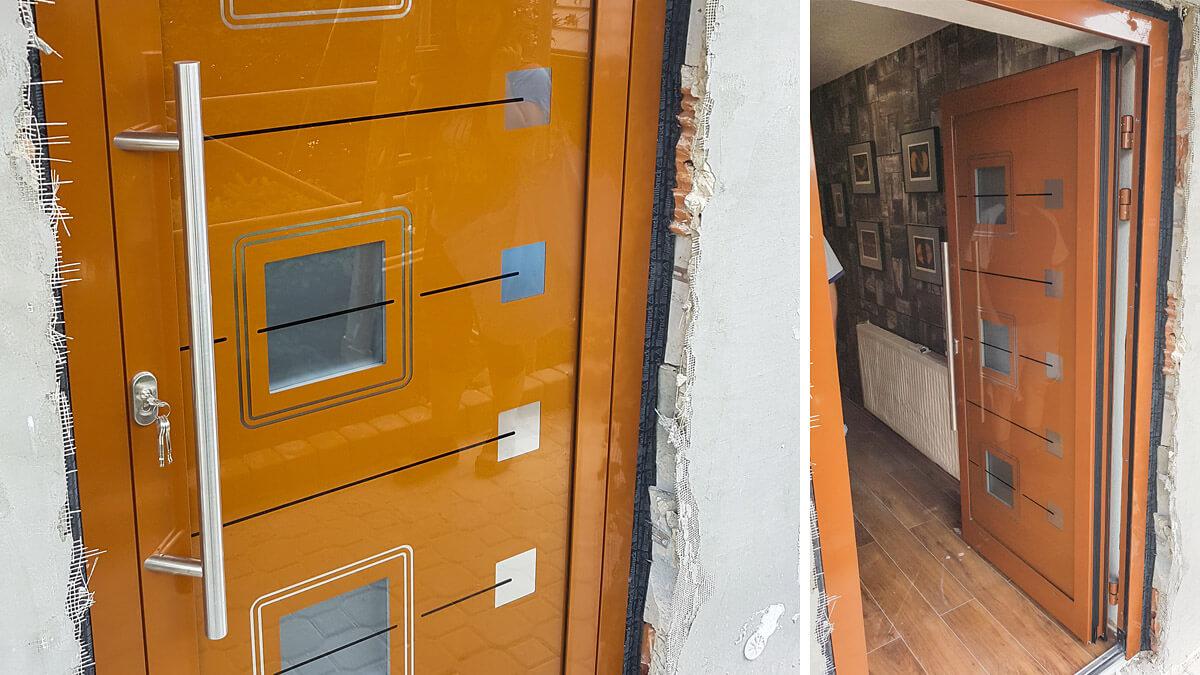 Hliníkové vchodové dvere z kaleného skla s antikorom