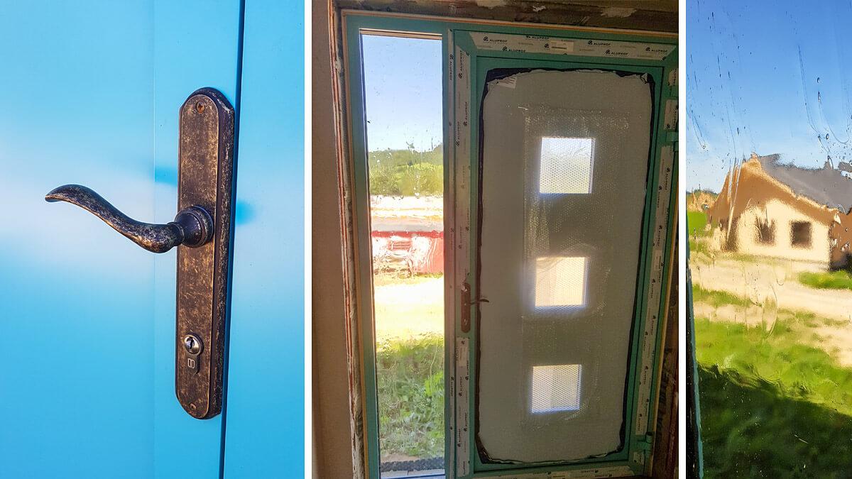Hliníkové vchodové dvere AV-244 vo farbe svetlozelená RAL 6027 so svetlíkom
