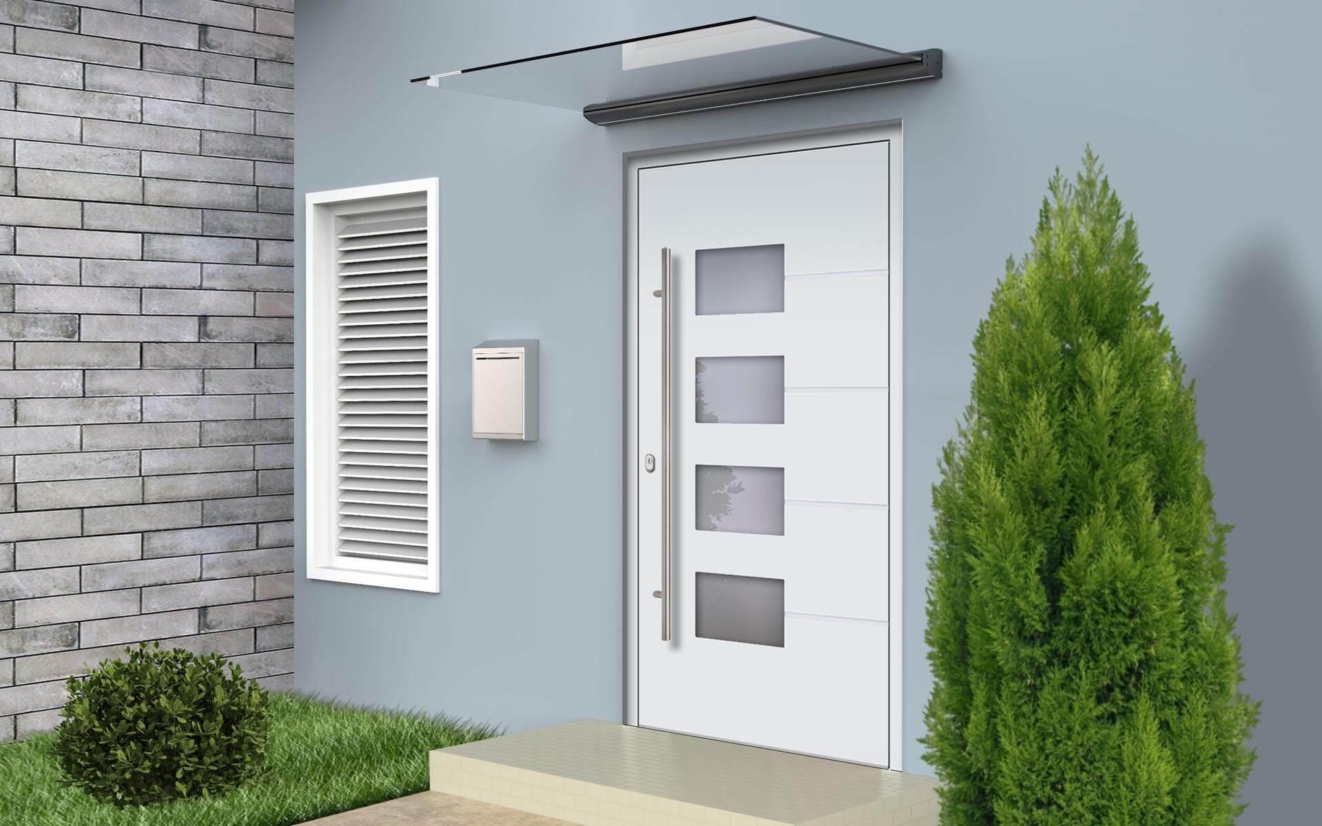 Sklenená strieška nad hliníkovými vchodovými dverami AVF-798 vo farbe biela