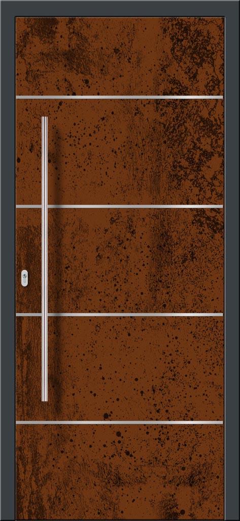 Vchodové hliníkové dvere s montážou do rodinného domu s hliníkovým prekrytým krídlom v industriálnom nástreku s nerezovými pásikmi