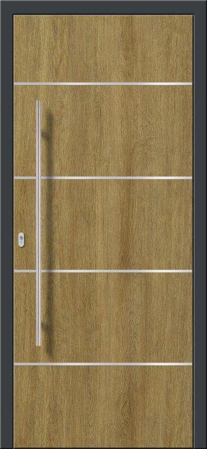 Vchodové hliníkové dvere s montážou do rodinného domu s hliníkovým prekrytým krídlom v drevodekore dub s nerezovými pásikmi