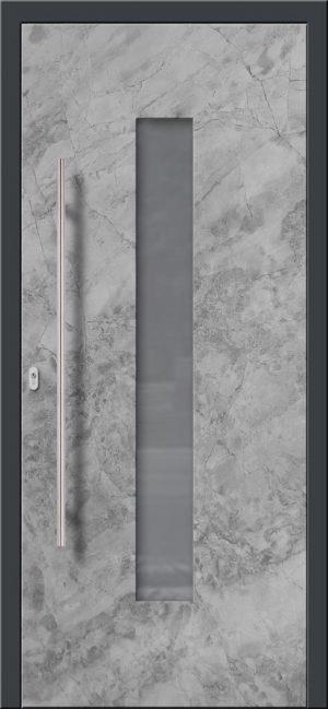 Vchodové hliníkové dvere s montážou do rodinného domu s hliníkovým prekrytým krídlom v industriálnom nástreku s presklením