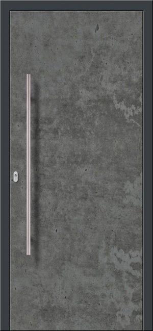 Vchodové hliníkové dvere s montážou do rodinného domu s hliníkovým prekrytým krídlom v industriálnom nástreku