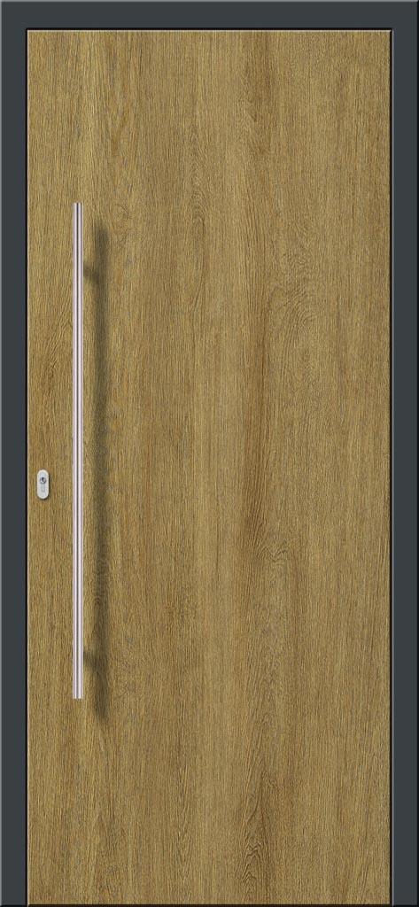 Vchodové hliníkové dvere s montážou do rodinného domu s hliníkovým prekrytým krídlom v drevodekore dub