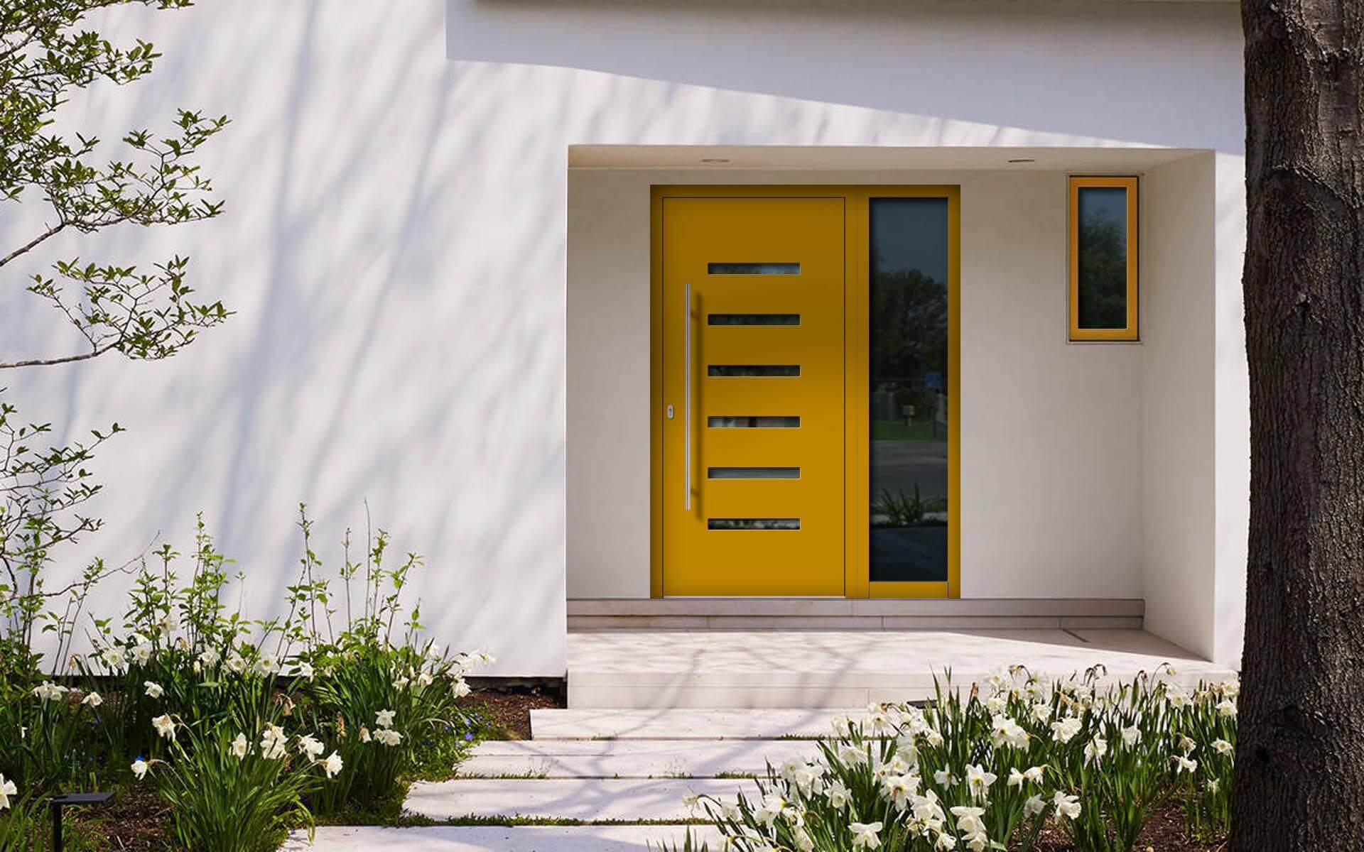 Hliníkové vchodové dvere do domu so svetlíkom vo farbe medová žltá RAL 1005