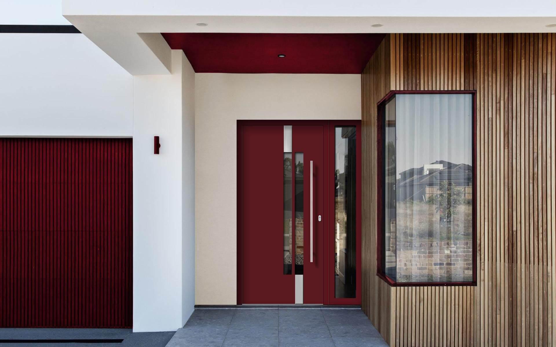 Hliníkové vchodové dvere do domu so svetlíkom vo farbe vínová červená RAL 3005