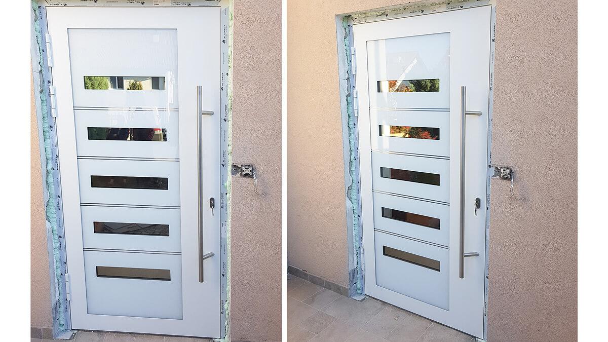 Luxusné hliníkové vchodové dvere do domu vo farbe RAL 9016 štrukturovaná biela s prekrytým krídlom