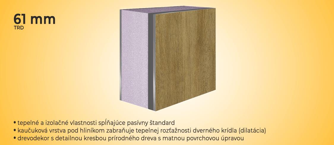 Dilatačná štruktúra pre dvernú výplň prestížnych hliníkových vchodových dverí s drevodekorom