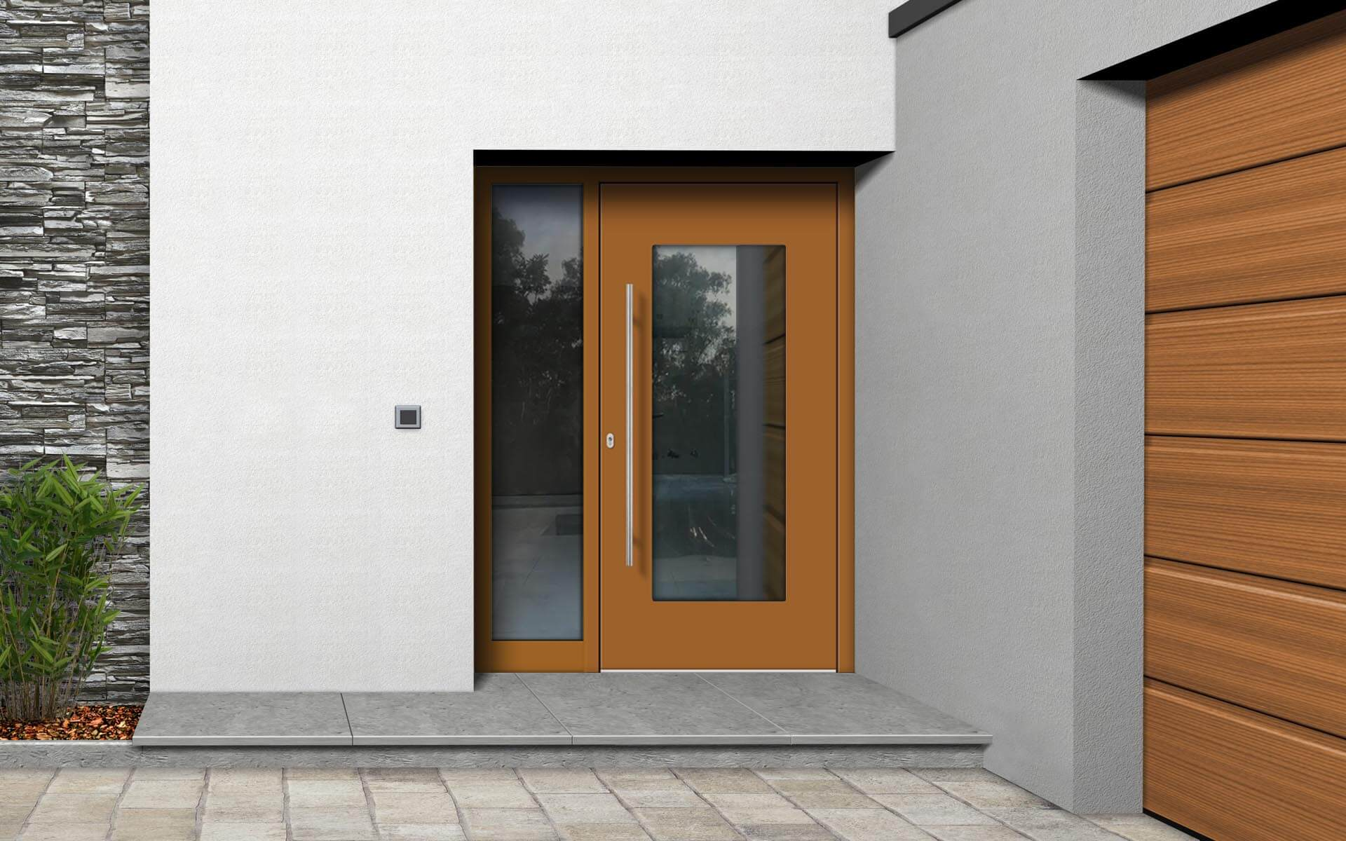 Hliníkové vchodové dvere do domu so svetlíkom vo farbe okrová hnedá RAL 8001